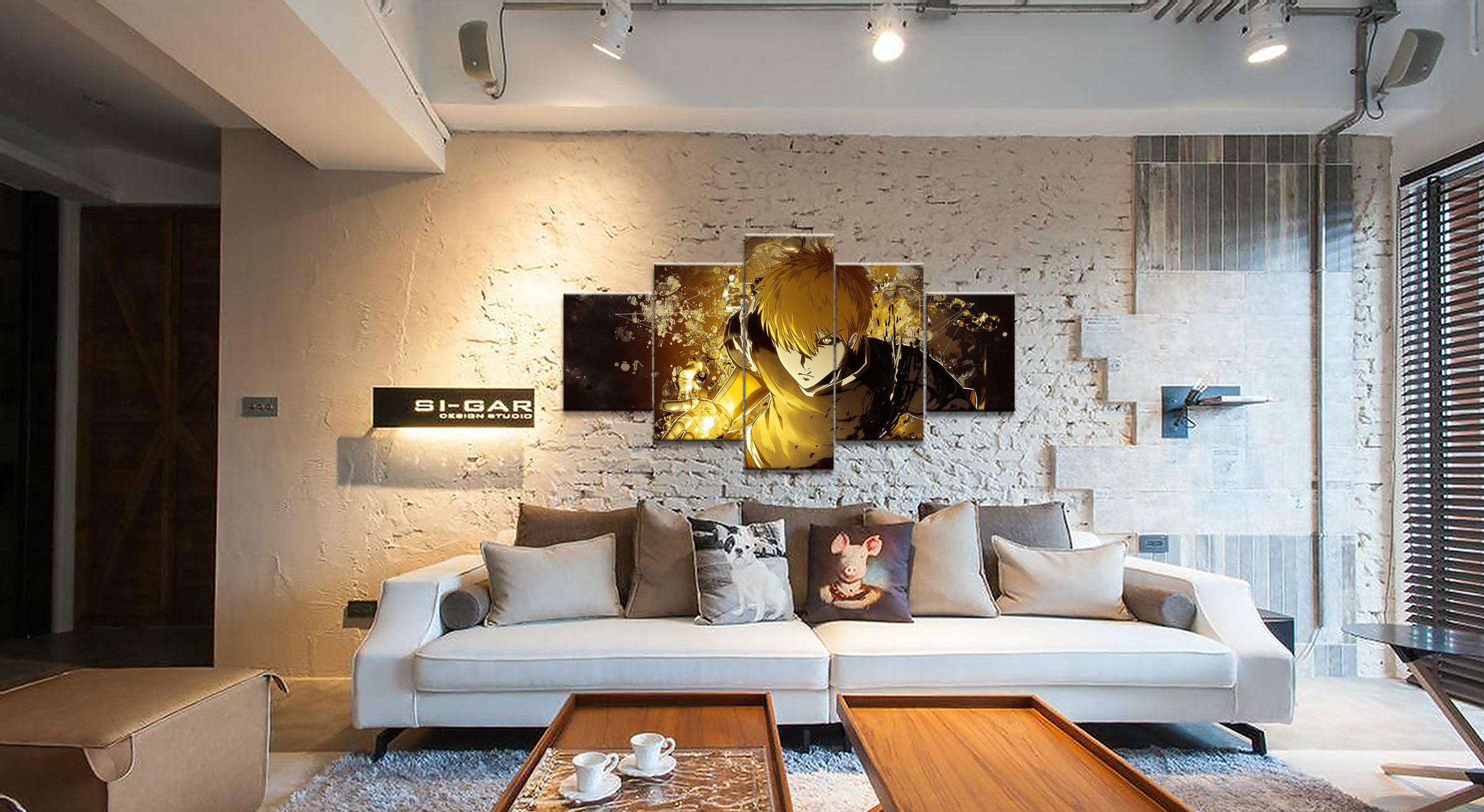 Home Decor Modular Canvas Painting Picture 5 Piece One Punch Man Genos Anime Poster Canvas Wall For Home Canvas Wholesale in Painting Calligraphy from Home Garden