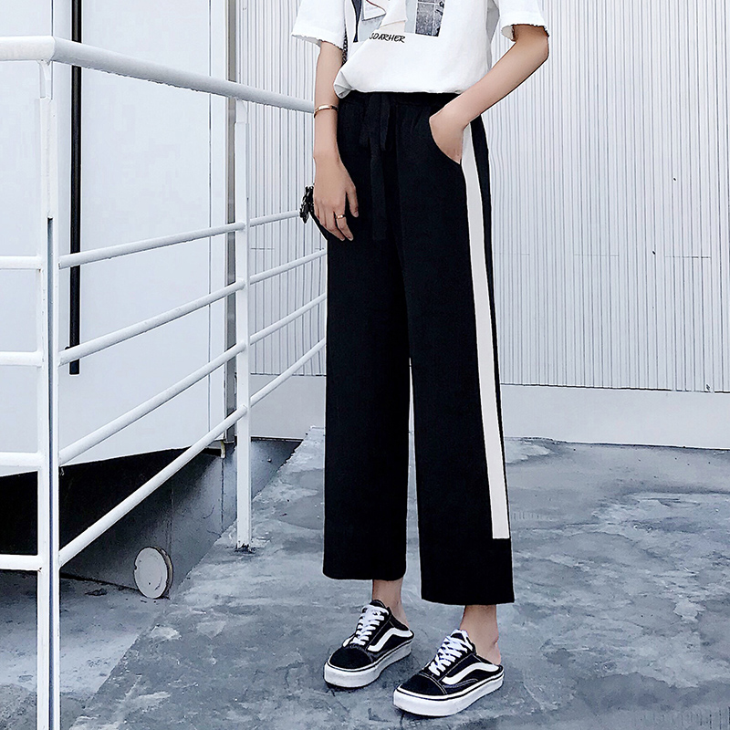 Cotton Knitted High Waist   Wide     Leg     Pants   2019 Spring Summer   Pants   Female Casual Trousers Women   Pants