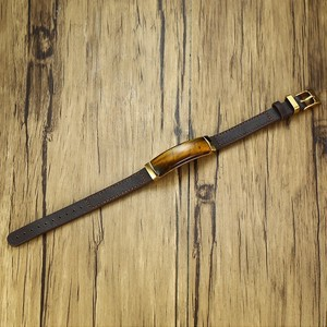 Image 5 - Gent klasyczna prostokątna bransoletka ze stali szlachetnej i brązowa prawdziwa skóra z biżuterią tygrysa