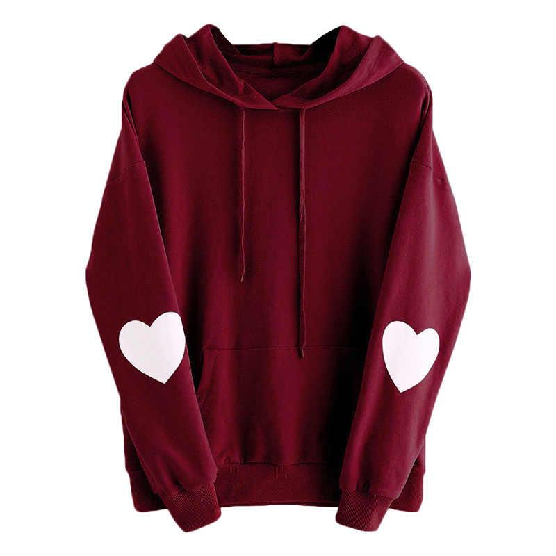 Kawaii милые толстовки с капюшоном женские с рисунком сердца с длинным рукавом Повседневные свободные розовые пуловеры с капюшоном осень зима женские толстовки