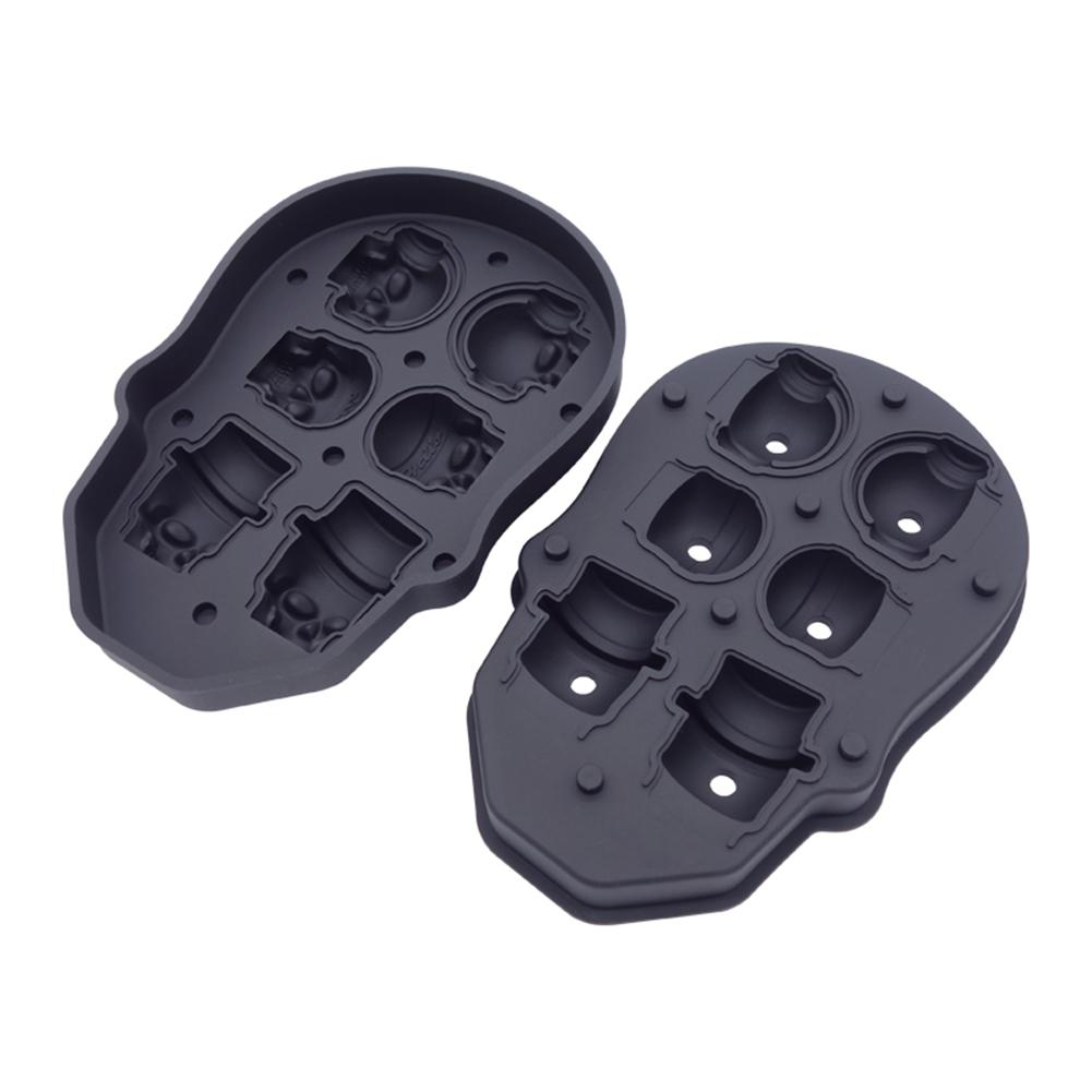 New Arrival 6 Cavity 3D Skull Silicone Ice Mold Cool Wine Cocktail Ice Cube Tray Maker Home Kitchen Ice Mould