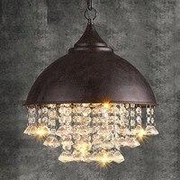 النمط الأمريكي loft الرجعية خمر كريستال الثريا أدت مصابيح إضاءة غرفة المعيشة الطعام شنقا مصباح داخلي
