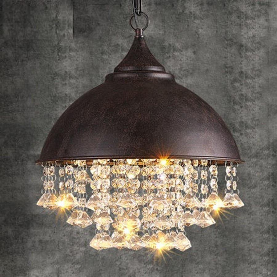 American Retro Loft Style Vintage Crystal Chandelier LED Light Fixtures For Living Dining Room Hanging Lamp Indoor Lighting