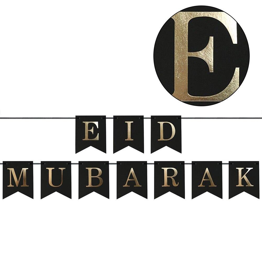 Zielsetzung Lvoertuig Eid Mubarak Bunting Banner Für Party Dekorationen Festival Liefert Fahnen, Banner & Zubehör schwarz