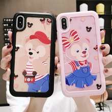 for iPhone X XS MAX XR 8 7 6S 6 Plus protective case Japan Cartoon little Bear 3D Emboss Phone Soft Acrylic cover Couple