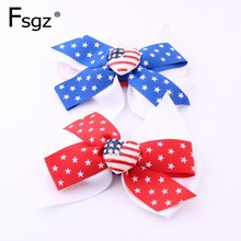 Bow Headband For Baby Star Print Cotton Spandex Bandage Newborn American Flag Color big Bow-tie Hair Accessories 2019