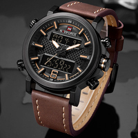 NAVIFORCE-relojes deportivos para Hombre, pulsera de cuarzo con correa de cuero, resistente al agua, Digital, LED, analógico