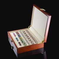 Vintage Wooden Showcase Box Display Jewelry Display for Rings Earrings Cufflinks