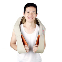 Electric Back Shoulder Kneading Massager Pillow Sore Muscles Neck Waist Body Relax Tool For Home Car (Beige With 6 Key Press)