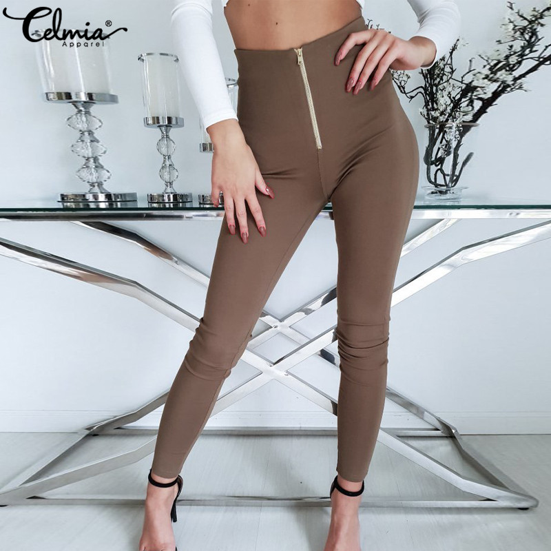Celmia Women Sexy Trousers 2019 Push Up Elastic Waist Pants Skinny Pencil Pants Zip Casual Slim Long Pantalon Feminino Plus Size