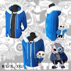 Image 2 - Kid Sans Cosplay Blue Hoodies Coat Unisex Jacket Halloween Cosplay Costumes Hooded Sweater Undertale COOL SKELETON Cosplay