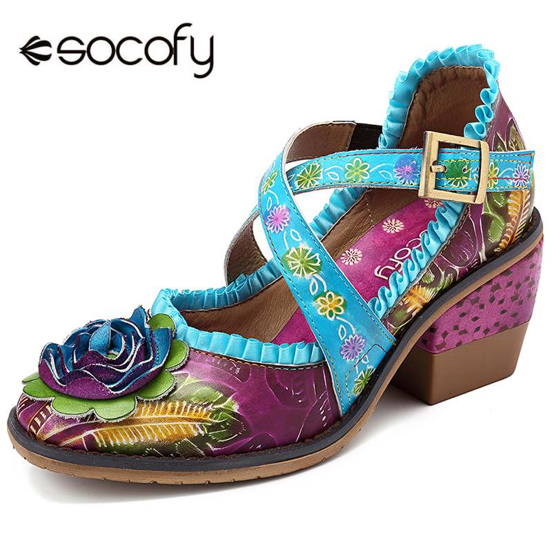 1d4a8f24ec8 SOCOFY Vintage Hand Painted Floral Pattern Genuine Leather Splicing Lace  Buckle Strap Pumps Bohemian Shoes For Women Retro