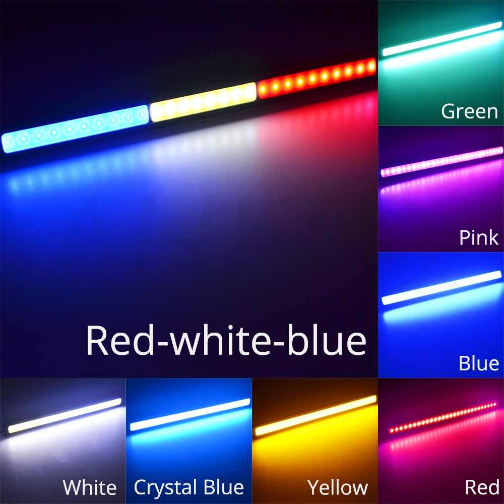 DRL 17cm 1/2Row Blue Green White Car COB Driving Fog lamp Double Daytime Running lights Auto Waterproof Update Ultra Bright LED