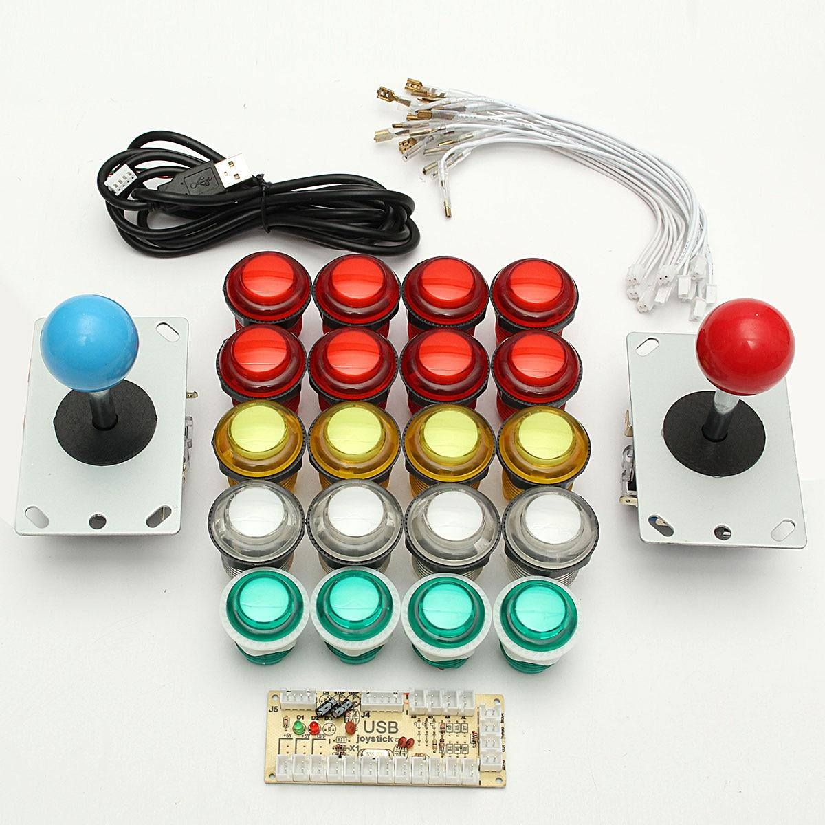 USB double lecteur encodeur cartes 8 voies manettes LED boutons lumineux PC jeux d'arcade kit de bricolage jeux accessoires Set contrôle