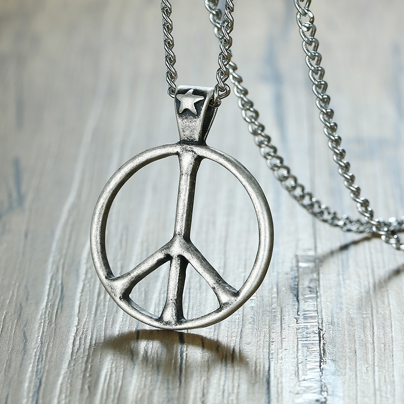 Peace Sign Pendant Sterling Silver 925 Hippie Symbols Fine Jewelry Gift 13 mm