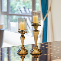 European style luxury metal glass dining table retro candlestick decoration living room dining room soft decorations