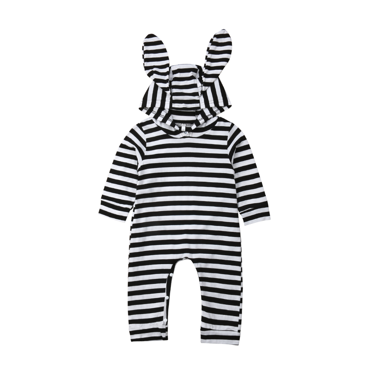 a96227b6e244 0-24M Casual Newborn Baby Boy Girl Long Sleeve Bunny Ear Hooded Striped Romper  Jumpsuit