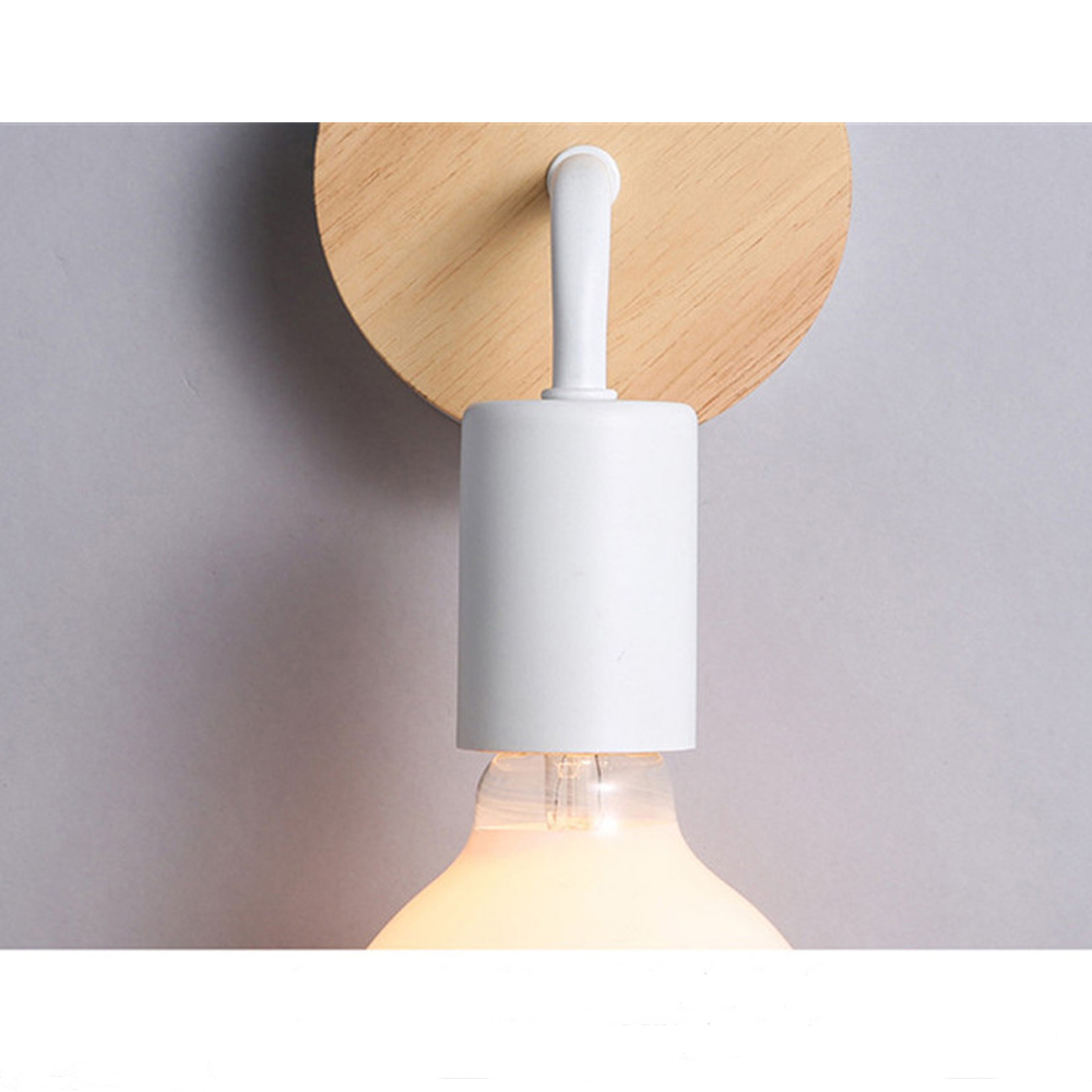 Vintage Simple Iron Dining Room Bar Indoor E27 Light Bulb LED Nordic Retro Wood Bending Wall Light in LED Indoor Wall Lamps from Lights Lighting