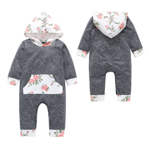66aa996aa Newborn Baby Girl Boys Hooded Floral Romper Clothes Jumpsuit Toddler ...