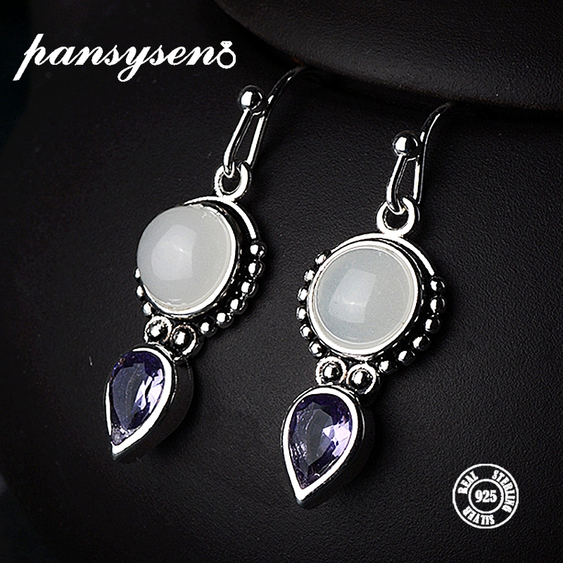 PANSYSEN Top Quality Created Moonstone 925 Silver Jewelry Drop Earrings For Women Vintage Fine Party Anniversary Gift WholesalePANSYSEN Top Quality Created Moonstone 925 Silver Jewelry Drop Earrings For Women Vintage Fine Party Anniversary Gift Wholesale