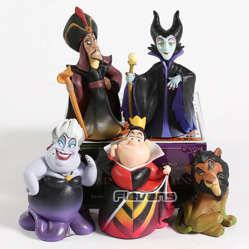 PVC Figures Villains-Collection Jafar Queen Malefice-Ursula Toys Scar Red WCF The 5pcs/Set