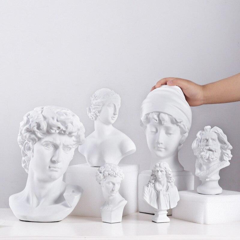 World Famous Statue Retro Art Resin Head Skull Sculpture Sketch Model David Moliere Home Decoration Accessories Modern Figurine