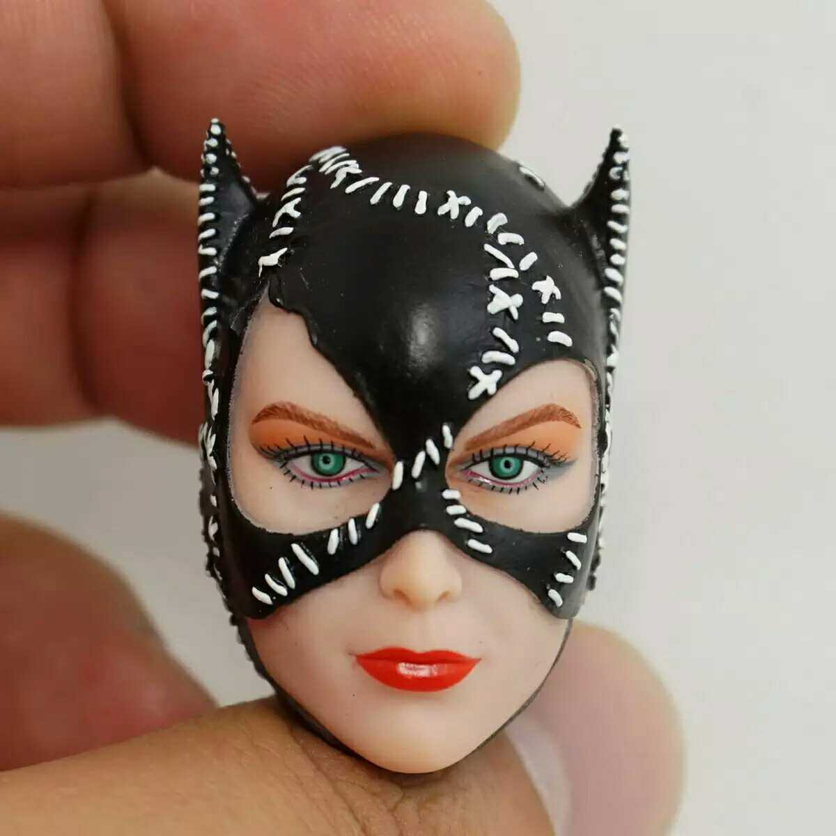 1 6 Catwomen Head Sculpt with Black Mask DIY Models for 12 Action Figures Bodies