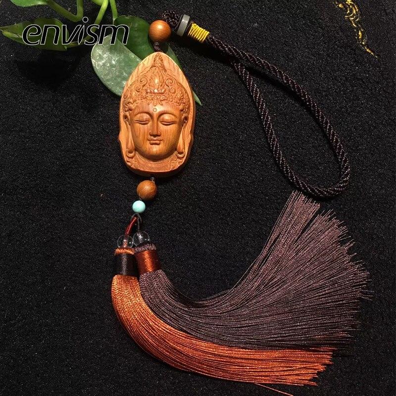 ENVISM sculpture sur bois Boutique décor bouddha Arts et artisanat Statue décoration de la maison cadeaux chanceux Talisman voiture pendentif suspendu