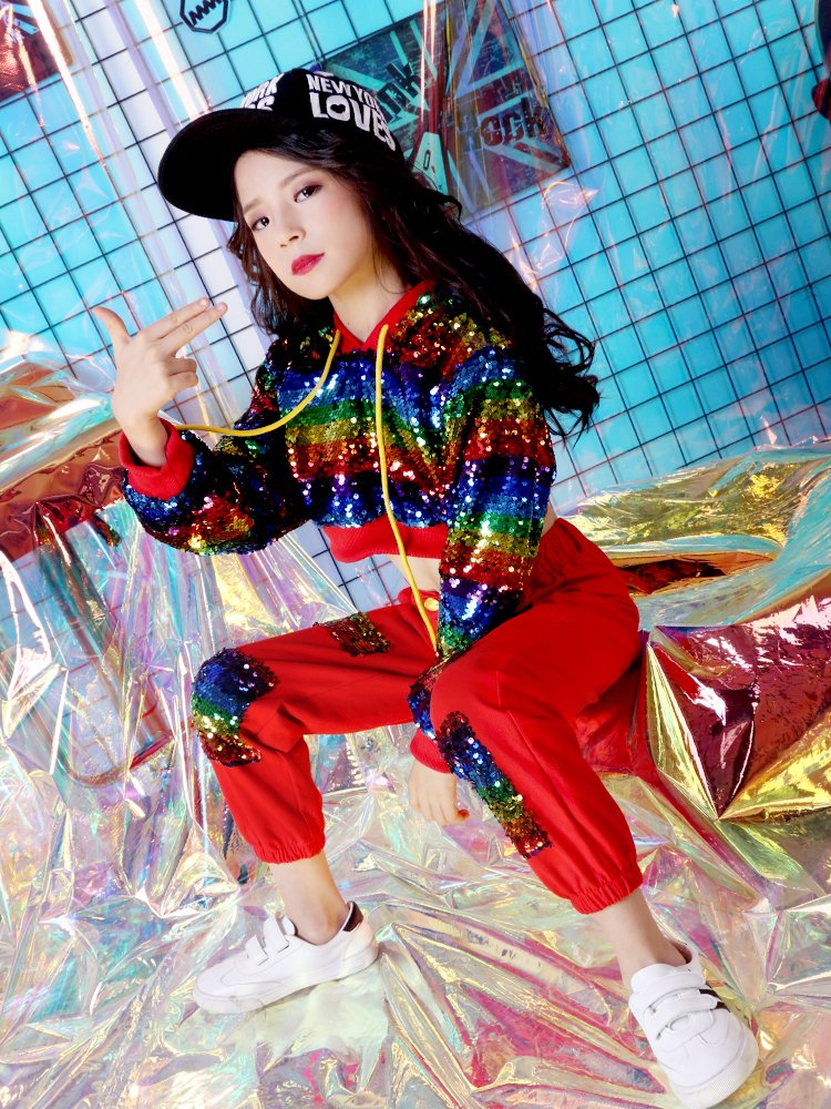 Children's Jazz Costume Girls Hip Hop Dance Costume Handsome Stand Drum Sequins Performance Costume
