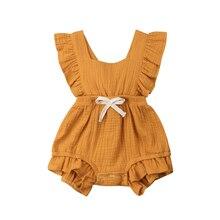 Брендовый комбинезон с оборками для новорожденных девочек, цельная одежда Летний комбинезон без рукавов для маленьких девочек, комбинезон, Sunsuit