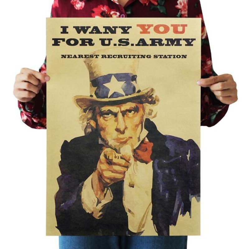 Vintage Poster Uncle Sam World War II Recruit Kraft Paper Poster Wall Sticker