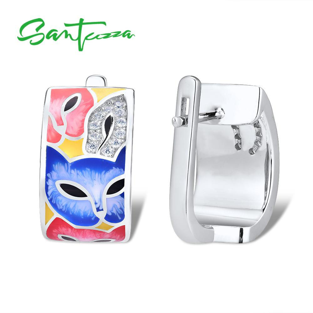 Image 2 - SANTUZZA Silver Earrings For Women 925 Sterling Silver with White CZ Hand made Enamel Lovely Cat Unique Earring Fashion JewelryEarrings   -