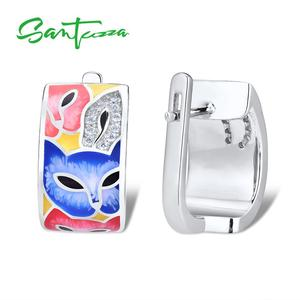 Image 2 - SANTUZZA Silver Earrings For Women 925 Sterling Silver with White CZ Hand made Enamel Lovely Cat Unique Earring Fashion Jewelry