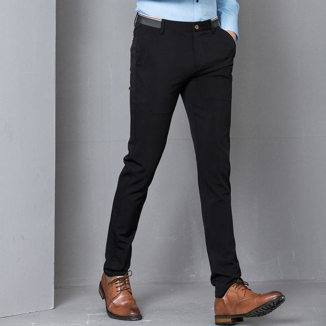 12767db74cc Black Stretch Skinny Dress Pants Men Party Office Formal Mens Suit Pencil  Pant Business Slim Fit Casual Male Trousers-in Skinny Pants from Men s  Clothing on ...