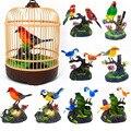 De inducción de jaula de pájaro de aves sonido Control de voz de juguete de simulación Animal jaula juguete regalo de decoración de jardín