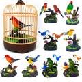 Inductie Vogelkooi Elektrische Vogels Sound Voice Control Huisdier Speelgoed Dier Simulatie Vogelkooi Kids Toy Gift Tuinornamenten