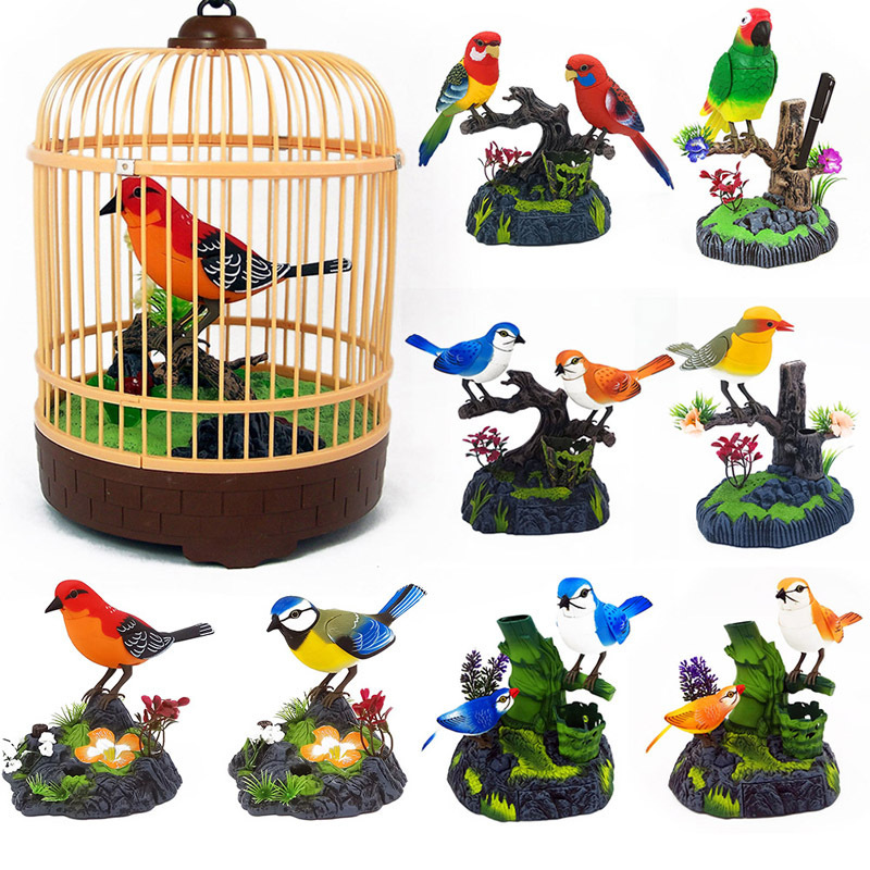 Induction Bird Cage Electric Birds Sound Voice Control Pet Toy Animal Simulation  Birdcage Kids Toy Gift Garden Ornaments