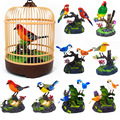 Jaula de pájaro inducción aves eléctricas sonido Control de voz mascota juguete Animal simulación jaula de pájaros niños juguete regalo jardín adornos