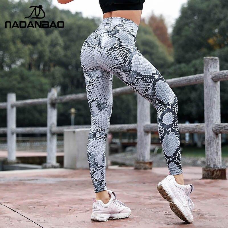 NADANBAO Push Up Snake Print Leggings Women Sporting Fitness Legging High Waist  Workout Leggin For Woman Elastic Slim Pants