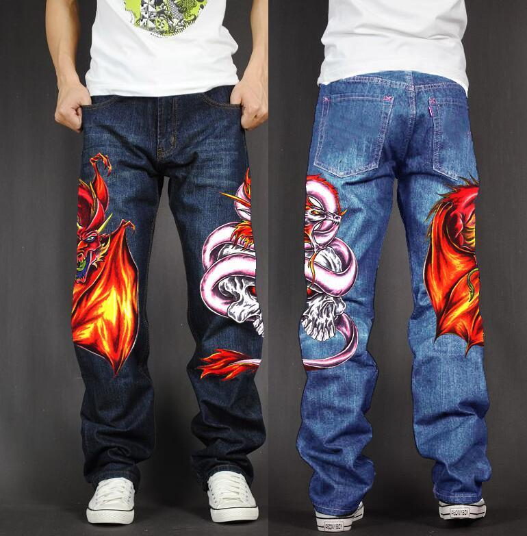 Men's Long Pants Baggy Loose Fit Jeans Rap Hip Hop Skate Denim Print Trousers Straight Stretch Casual Trousers Drgon Snake