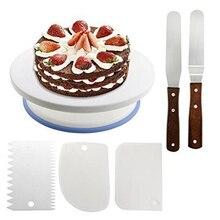 Пластмассовый Рождественский поворотный стол для торта, пластиковый нож для украшения теста, 10 дюймов кремовая подставка для пирожных, вращающийся стол для торта