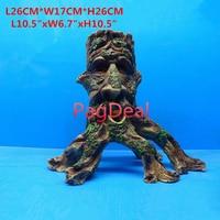 Aquarium Ornament Large Tree Root Trunk Grandpa Face L26cm Fish Tank Special Decoration Free Shipping
