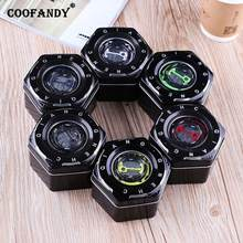 Travel Storage Jewelry Case Organizer Present etc Home Gift Watch Display Hexagon Letter Black Box Shop Metal(China)