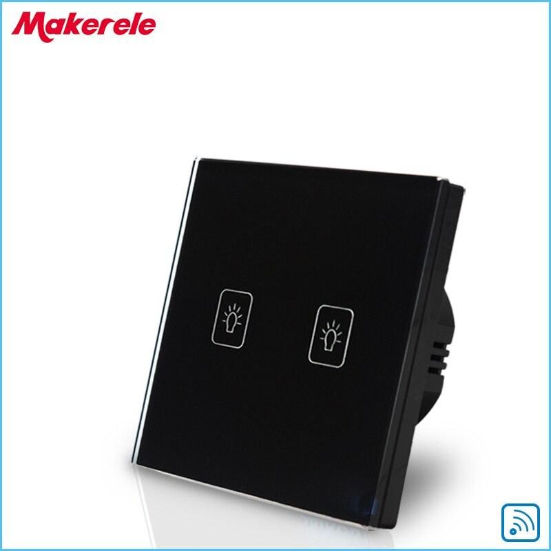 Standard de L'UE À Distance Interrupteur Tactile Noir Panneau Verre Cristal 2 Gang 1 Voies Télécommande Interrupteur Mural Avec Télécommande