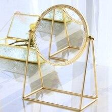 Металлическое декоративное зеркало для леди, настольное зеркало для макияжа, трехмерное зеркало принцессы, аксессуары для домашнего декора