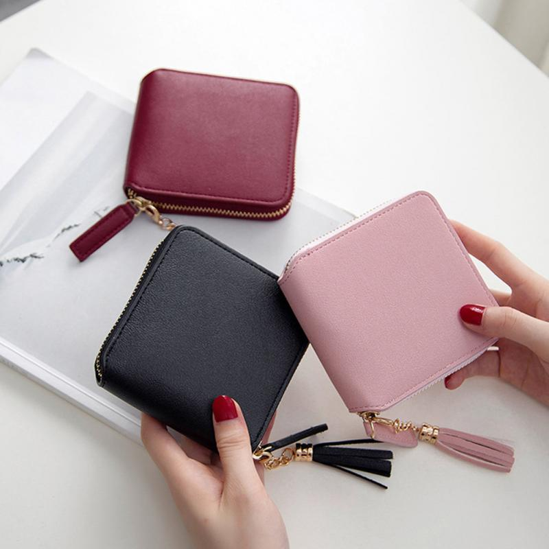 New Fashion Tassel Pendant Wallet Women Coin Purses Female Zipper Leather Money Holders Wallets Clutch Bag #128