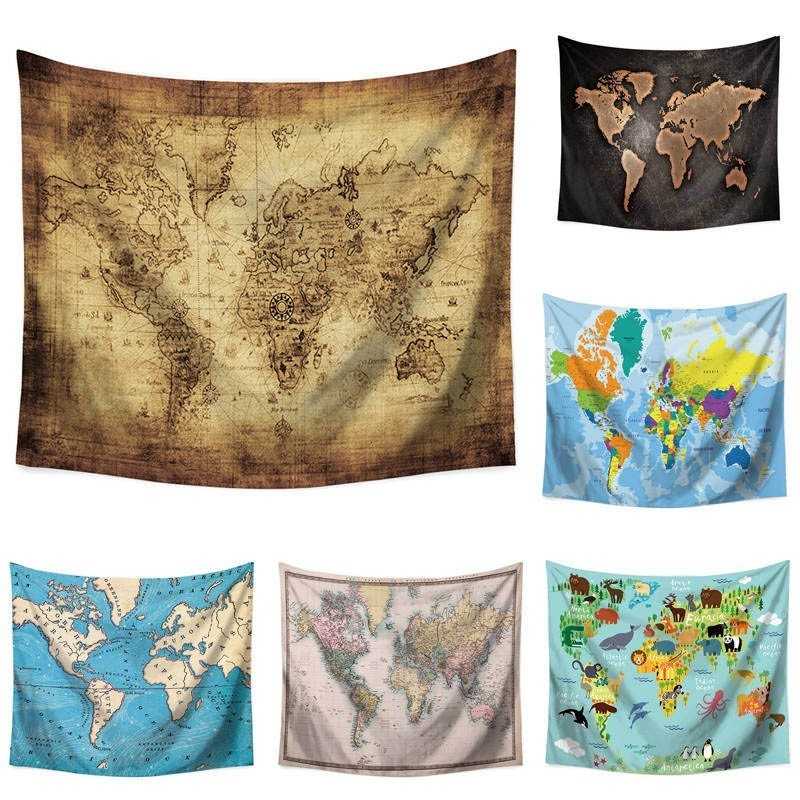 110*130cm World Map Explorer Wall Cloth Tapestry Polyester Hanging ...