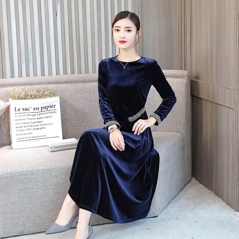 Vêtements O Automne Bleu Velvour Manches Doux Hiver Marine Robe En Chaud Cou Parti Perles Sapphire Saveur 2018 Longues Nouvelle Irrégulière Velours 1lFJKuTc3