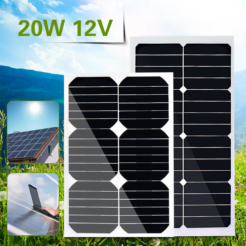 Flexible Solar Panel Plate 12V 20W Solar Charger For Car Battery 12V Sunpower Monocrystalline Silicon Cells Module Kit flexible solar panel plate 12v 5v 10w 20w 30w solar charger for car battery 12v 5v phone battery sunpower monocrystalline cells