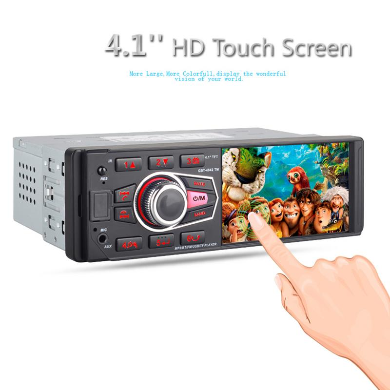 Car 4.1 Inch Touch Screen Bluetooth Car MP5 Player Car U Disk Radio Audio Stereo Support Rear View Camera Remote Control